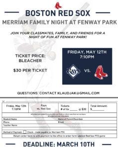 Merriam Family Night at Fenway Park! @ Fenway Park | Boston | Massachusetts | United States