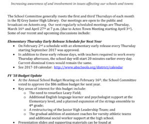 Acton-Boxborough Regional School Committee (ABRSC) Monthly Update -February 2017
