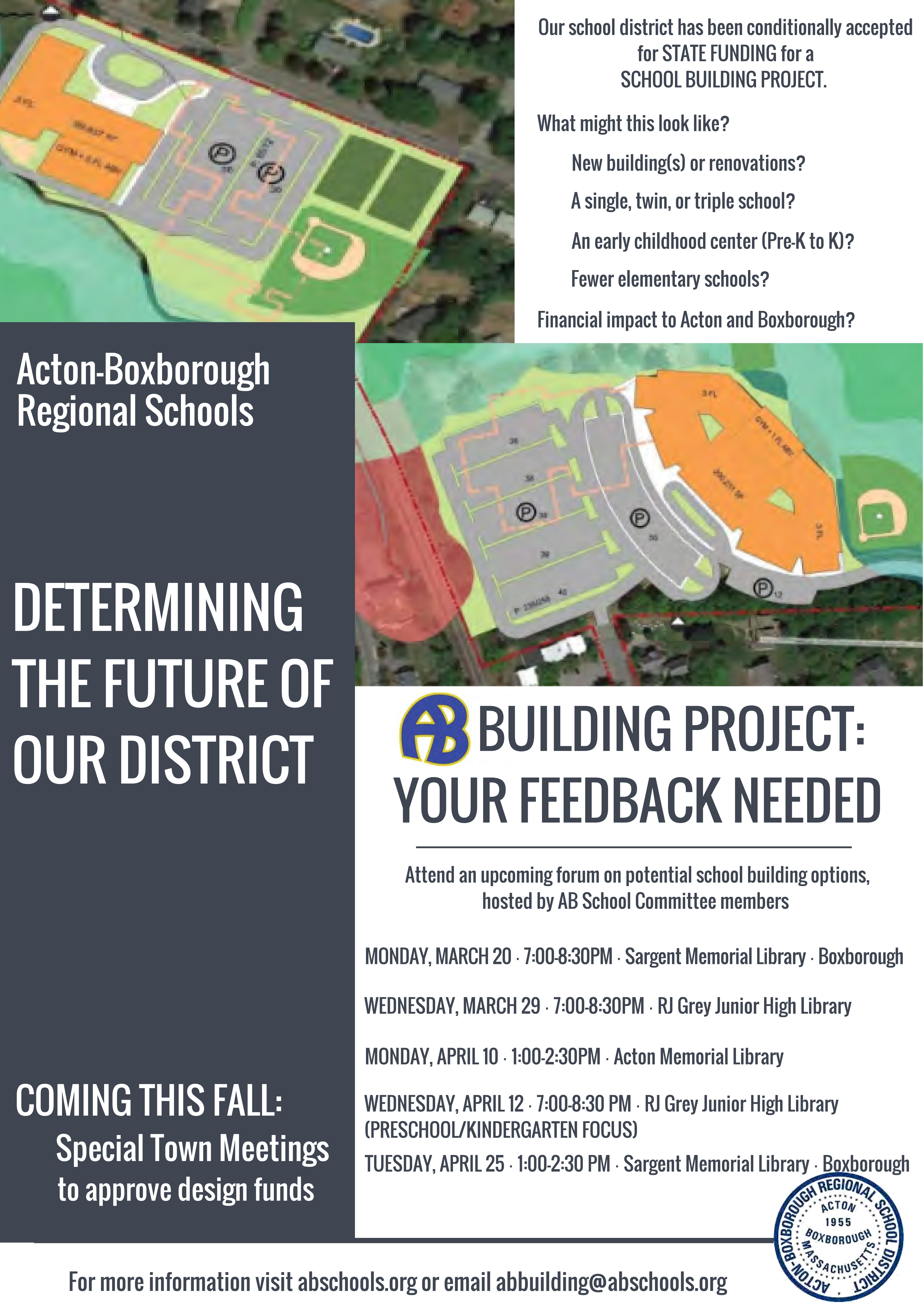 AB Building Project - Forum on potential school building options @ R.J. Grey Library | Acton | Massachusetts | United States
