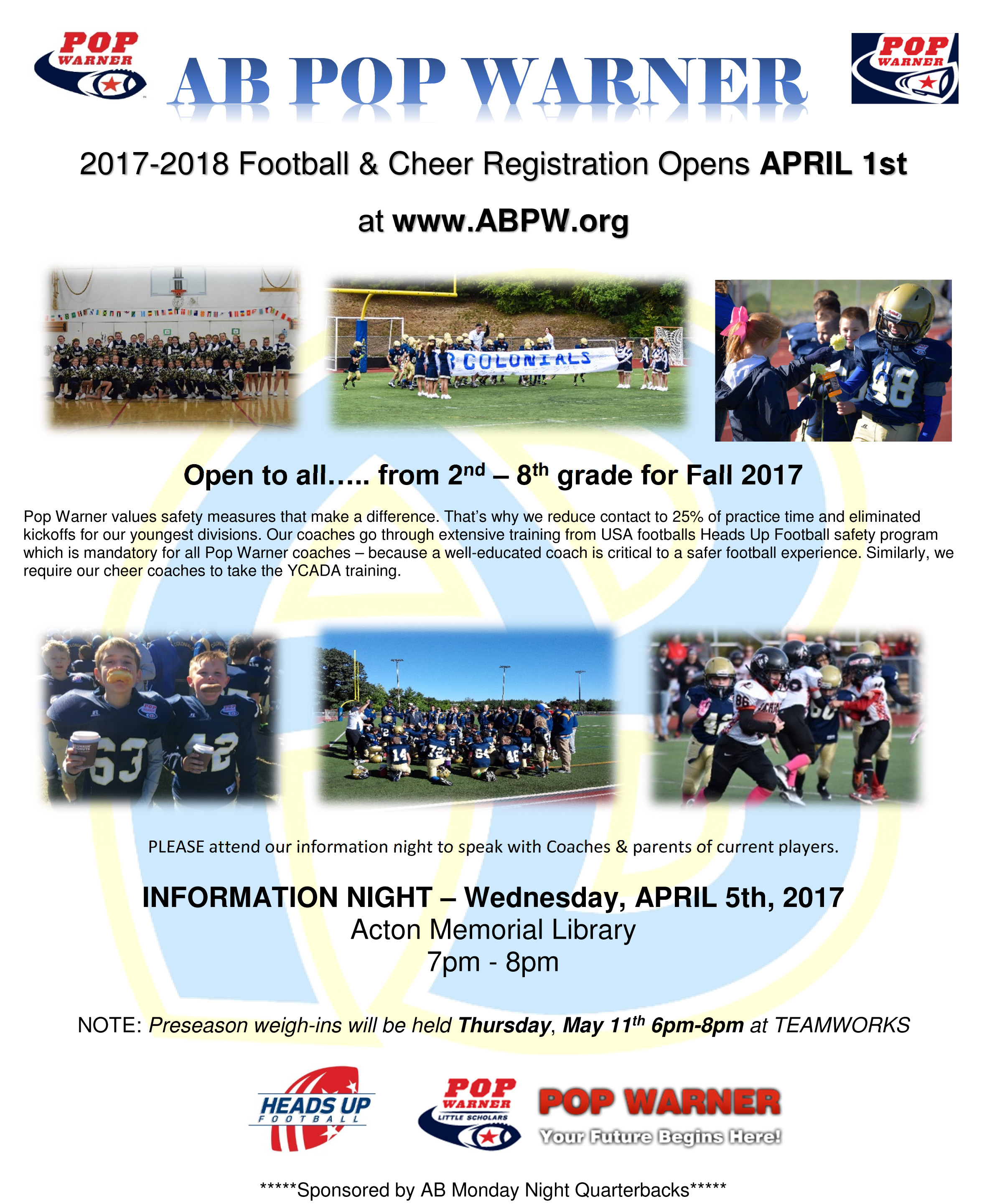 AB POP WARNER - 2017-2018 Football & Cheer Registration Open