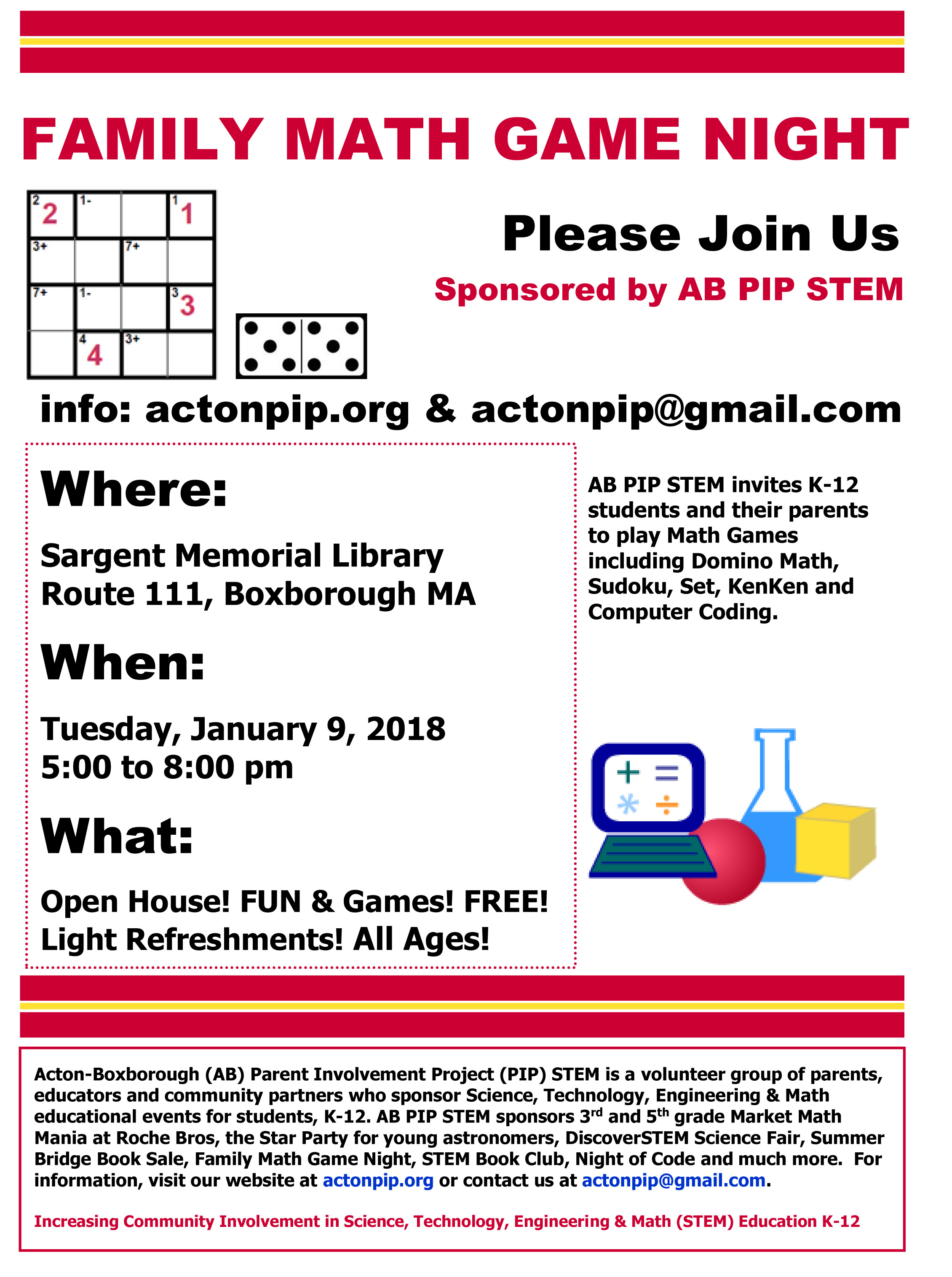 Family Math Game Night – presented by AB PIP STEM – Merriam School PTO