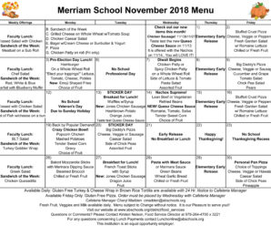 From the Food Services Office – Your November Menu