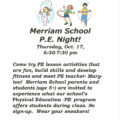 Merriam School P.E. Night!  THIS THURSDAY!!