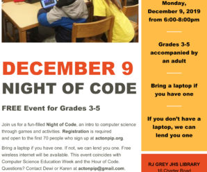 Night of Code  – December 9th!!  Free event for Grades 3-5