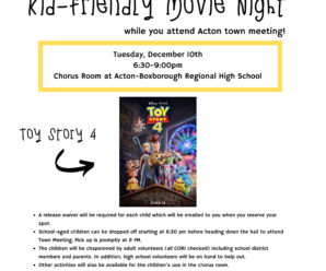 Kid-Friendly Movie Night during Acton Town Meeting – Tues, Dec 10th.  RSVP by Dec 8th!