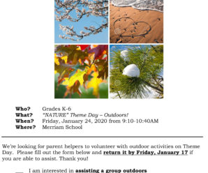 Theme Day – Volunteers Needed!  Friday, Jan 24th  from 9:10-10:40am